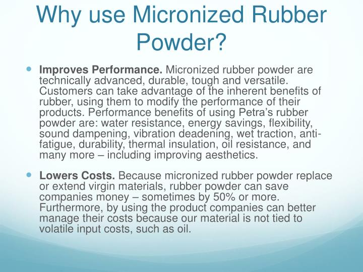 Why use Micronized Rubber Powder?