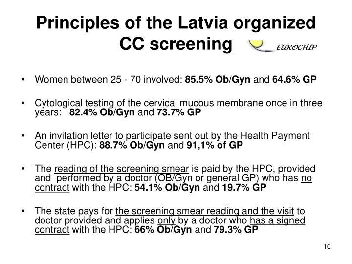 Principles of the Latvia organized CC screening
