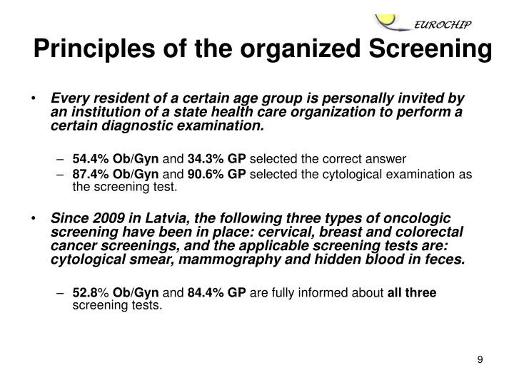 Principles of the organized Screening