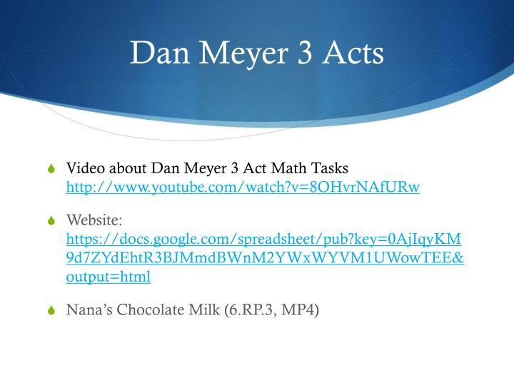 Dan Meyer 3 Acts