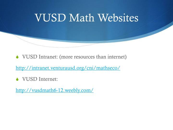 VUSD Math Websites