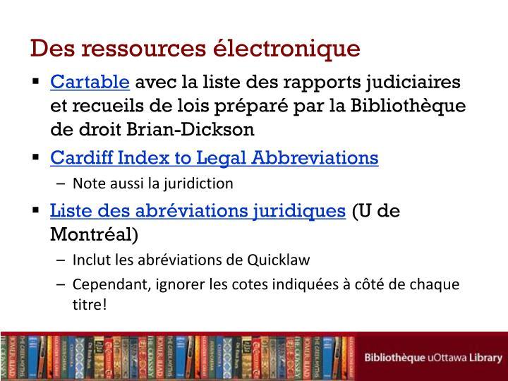 Des ressources électronique