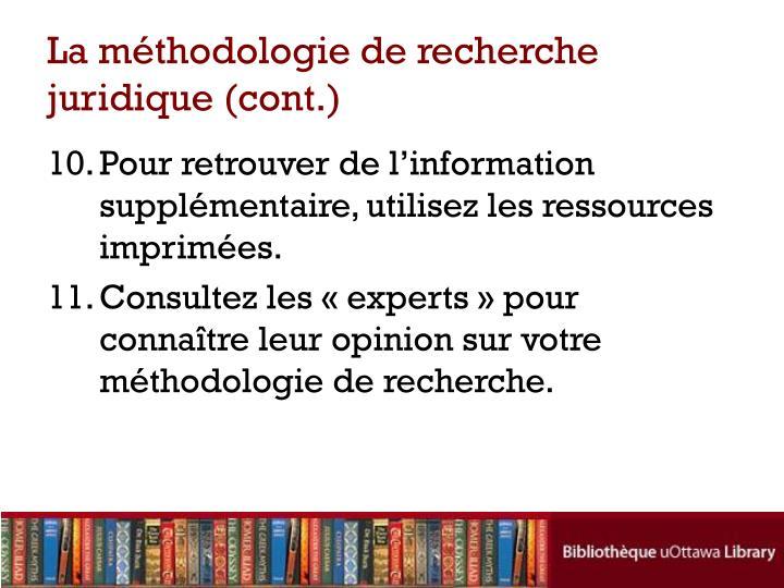 La méthodologie de recherche juridique (cont.)