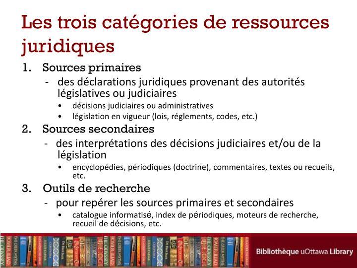 Les trois catégories de ressources juridiques