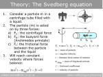 theory the svedberg equation