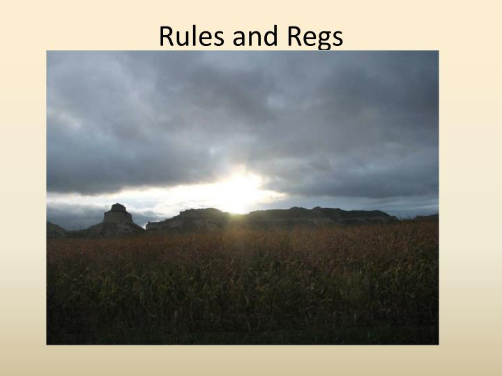 rules and regs n.