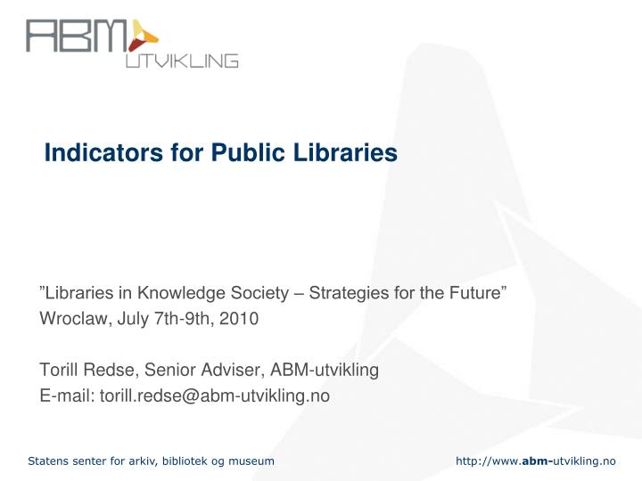 indicators for public libraries n.
