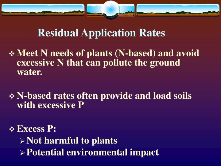 Residual application rates