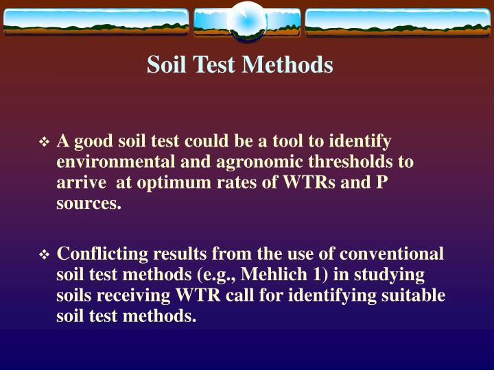 Soil Test Methods