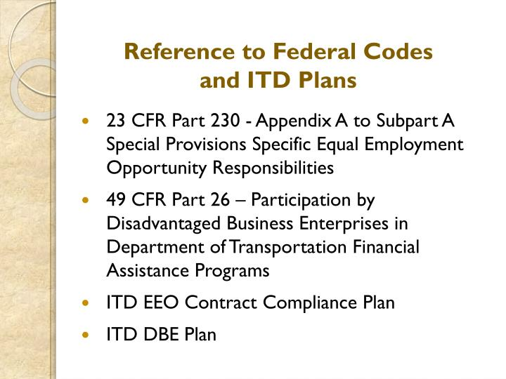 Reference to Federal Codes