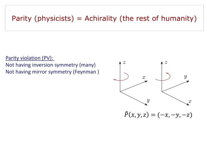 Parity (physicists) = Achirality (the rest of humanity)