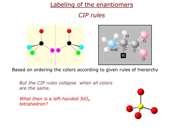 Labeling of the enantiomers