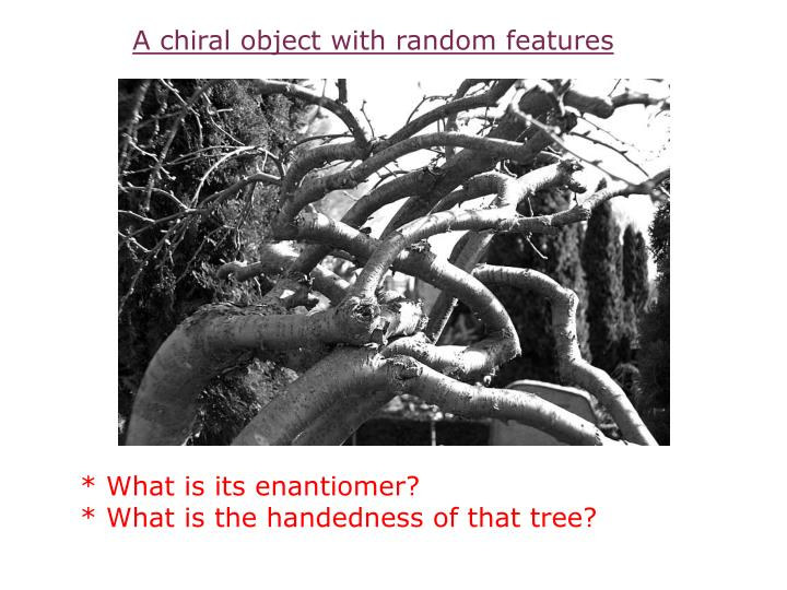A chiral object with random features