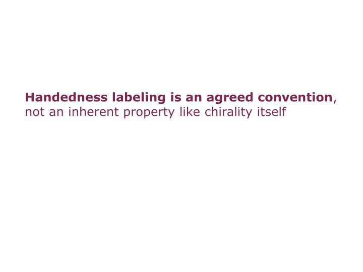 Handedness labeling is an agreed convention