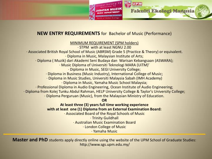 Ppt upm music department powerpoint presentation id4827673 new entry requirements for bachelor of music performance toneelgroepblik Gallery