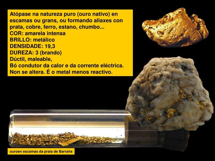 Atópase na natureza puro (ouro nativo) en escamas ou grans, ou formando aliaxes con prata, cobre, f...