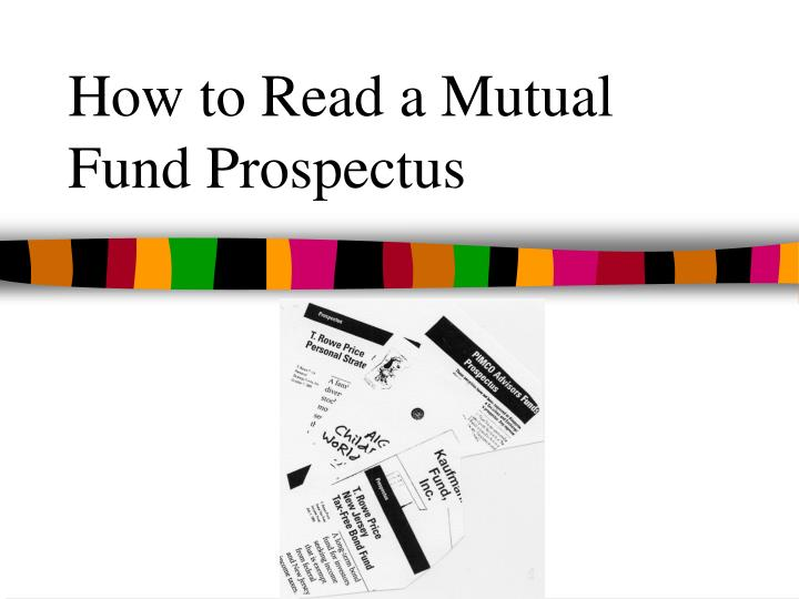 how to read a mutual fund prospectus n.