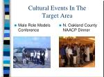 cultural events in the target area