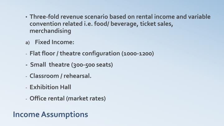 Three-fold revenue scenario based on rental income and variable convention related i.e. food/ beverage, ticket sales, merchandising