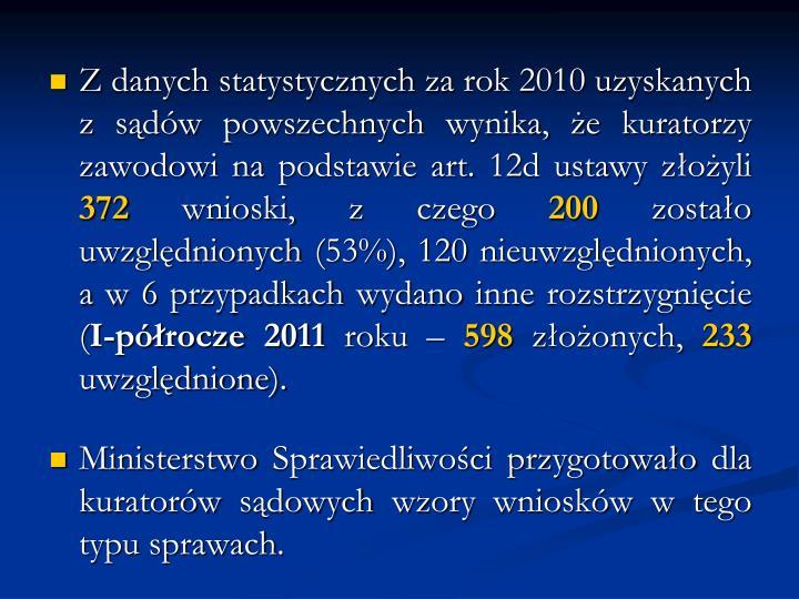 Z danych statystycznych za rok 2010 uzyskanych z sądów powszechnych wynika, żekuratorzy zawodowi na podstawie art. 12d ustawy złożyli