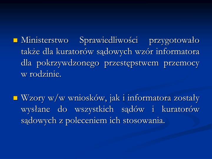 Ministerstwo Sprawiedliwości przygotowało także dla kuratorów sądowych wzór informatora dla pokrzywdzonego przestępstwem przemocy w rodzinie.