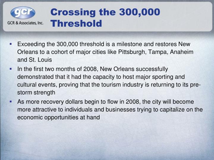 Crossing the 300 000 threshold