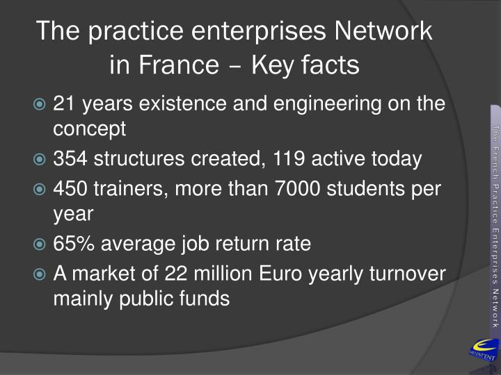 The practice enterprises network in france key facts