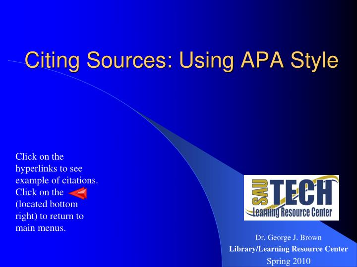 citing sources using apa style n.