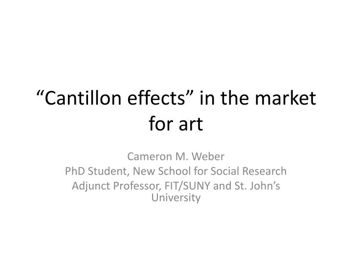 cantillon effects in the market for art n.