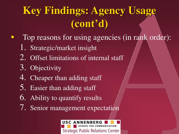 Key Findings: Agency Usage (cont'd)
