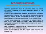 deficiencies observed compliance of the contract conditions