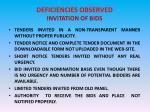 deficiencies observed invitation of bids