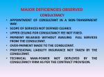 major deficiencies observed consultancy