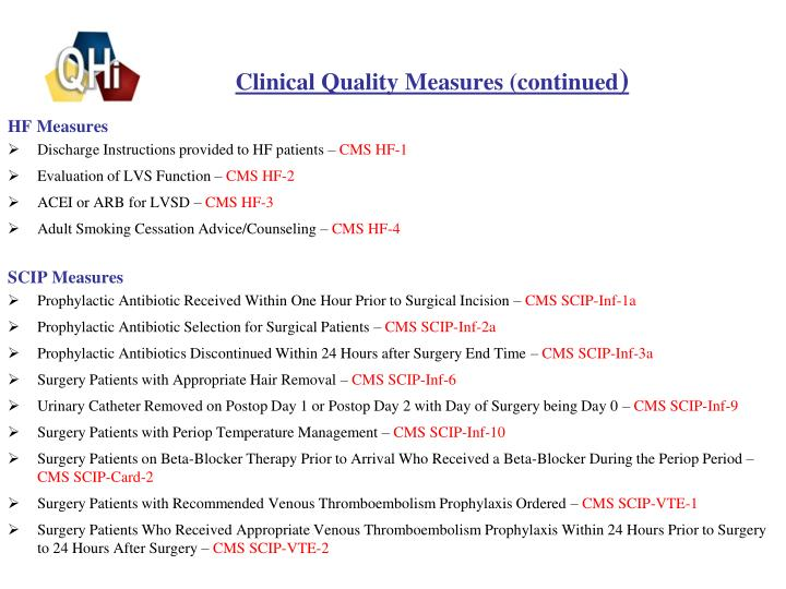 Clinical Quality Measures (continued