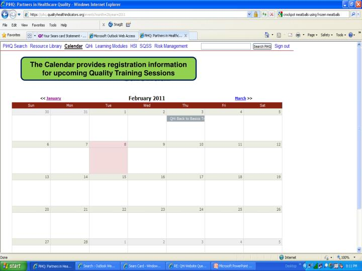 The Calendar provides registration information for upcoming Quality Training Sessions