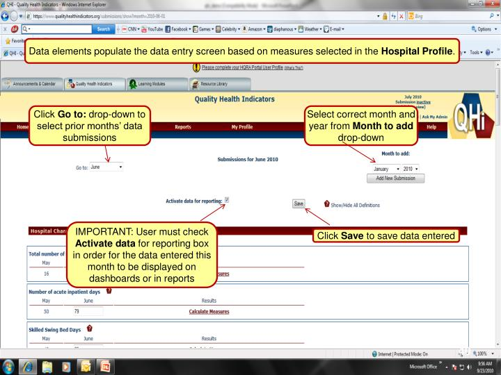 Data elements populate the data entry screen based on measures selected in the