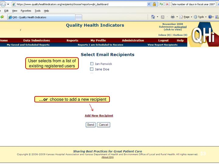 User selects from a list of existing registered users