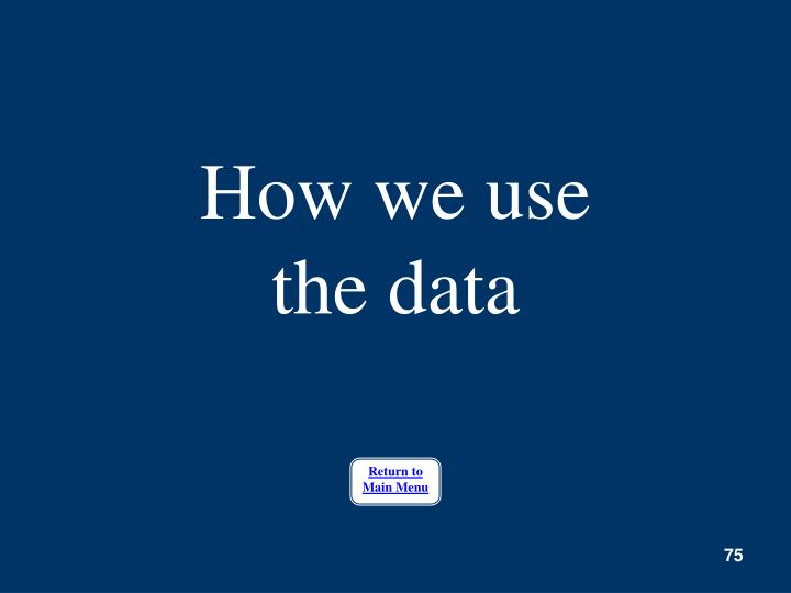 How we use the data