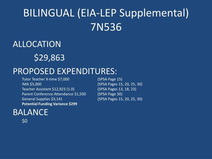 BILINGUAL (EIA-LEP Supplemental)