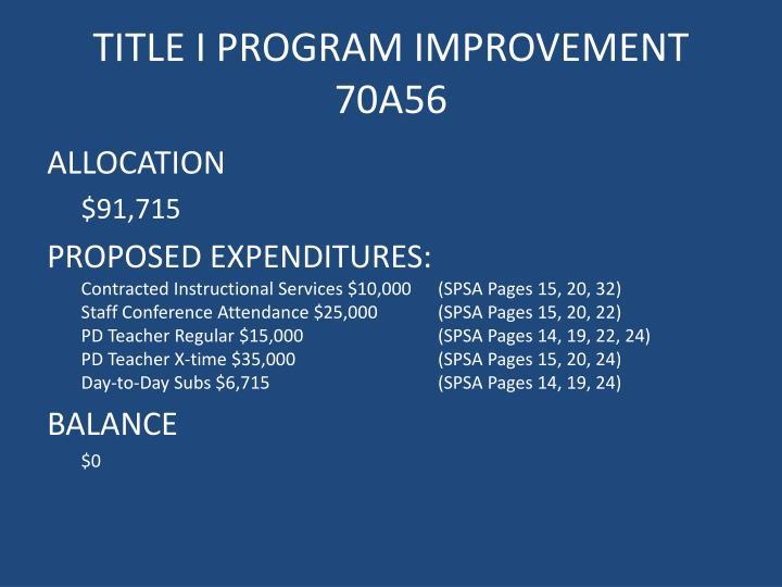 Title i program improvement 70a56