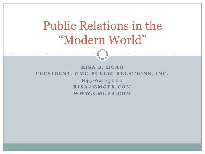public relations in the modern world n.