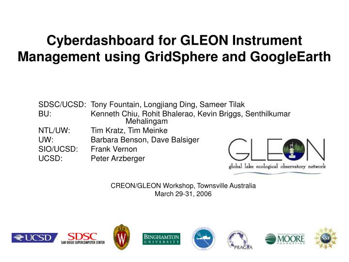 cyberdashboard for gleon instrument management using gridsphere and googleearth n.