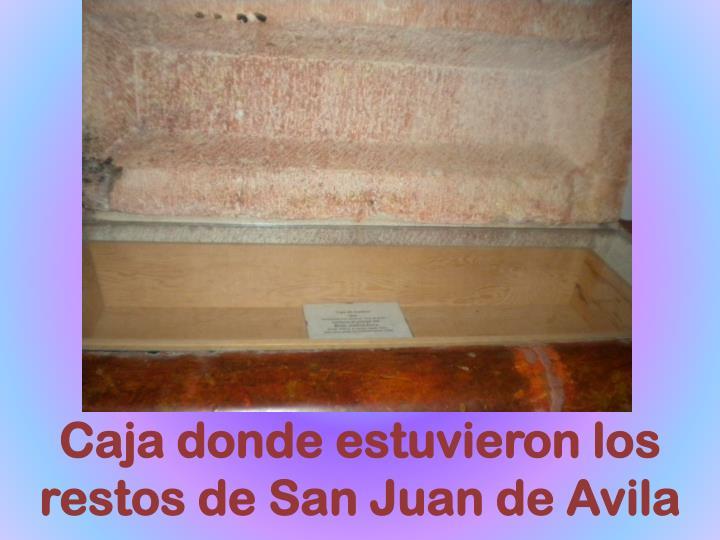 Caja donde estuvieron los restos de San Juan de Avila