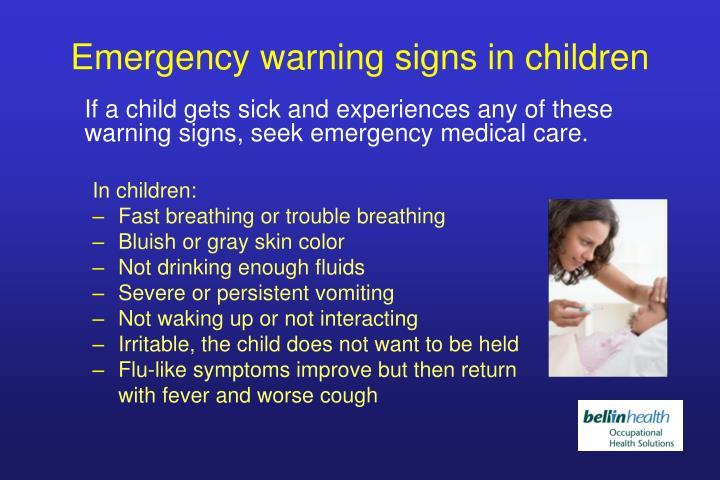 Emergency warning signs in children