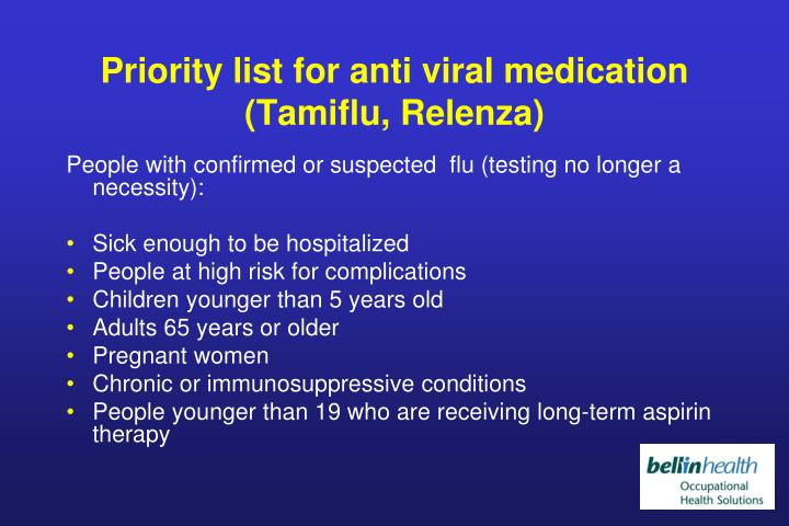 Priority list for anti viral medication