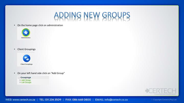 Adding New Groups