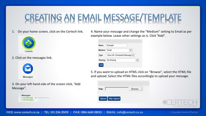 Creating an email message/template