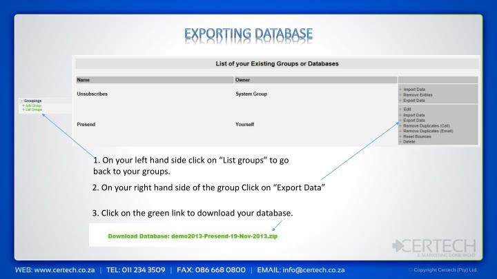 Exporting Database