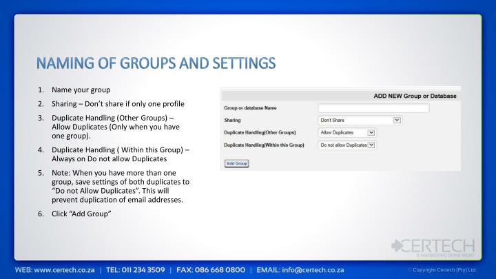 Naming of groups and settings