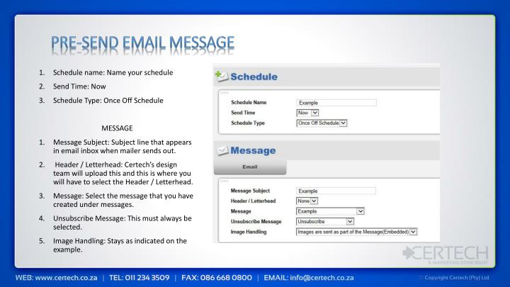 Pre-send email message